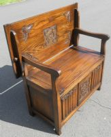 Carved Oak Monks Bench by Old Charm